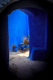 Blue house entrance. In Chefchaouen, the blue city, Morocco Stock Photo
