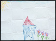 Blue House and Flowers. Child's Drawing. Stock Images