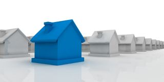 Blue house in the foreground. 3d blue house in the foreground on white Stock Image