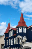 Blue house in Iceland. House red and blue in the streets of Akureiry in Iceland Stock Images