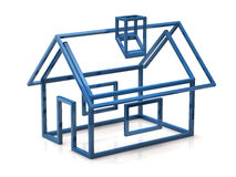 Blue house icon. 3d illustration of blue house icon Royalty Free Stock Photography