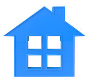 Blue House Icon. Blue 3D House Icon on a white background Stock Image
