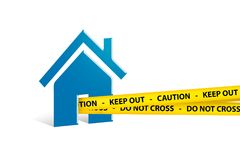 Blue House Icon with Do Not Cross Police Tape on White Stock Photography