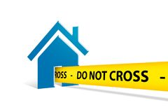 Blue House Icon with Do Not Cross Police Tape on White Royalty Free Stock Image
