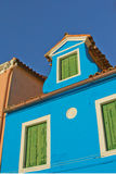 Blue house (Island Burano, Venice, Italy) Royalty Free Stock Images