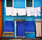 Blue house with laundry in Burano Stock Photo