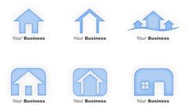 Blue House Logos. Calming blue house based logos Stock Photo
