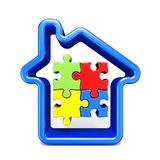 Blue house outline sign with jigsaw puzzles 3D stock illustration