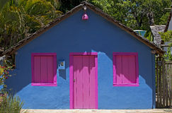 Blue house with pink window, typical colorful of Trancoso Royalty Free Stock Photos