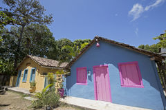 Blue house with pink window, typical colorful of Trancoso Royalty Free Stock Photography