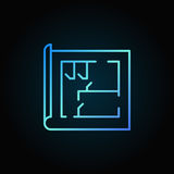 Blue house plan thin line icon. Vector colorful minimal home design concept linear sign or logo element on dark background Royalty Free Stock Photos