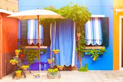 Blue house with and plants. Nice bench near entrance. Colorful house in Burano island near Venice, Italy Royalty Free Stock Images
