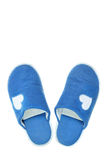 Blue house slippers Stock Photos