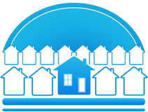 Blue house symbol. Blue eco symbol with sun and many house Royalty Free Stock Photo