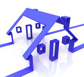 Blue House Symbol Shows Real Estate Or Rentals Stock Photography