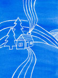 Blue house, trees and hills, watercolor illustration. Royalty Free Stock Photo