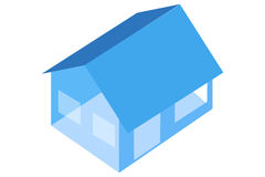 Blue house. Vector illustration 3d blue house on white background Stock Photography