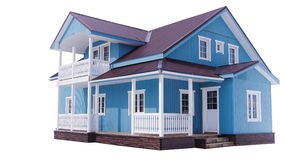 Blue house on white. The blue classic two level house on white background Royalty Free Stock Photo