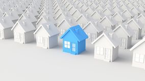 Blue and white house. Blue house among white houses, on white background. 3D Rendering Royalty Free Stock Photos