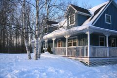 Blue house in winter Stock Photography