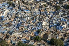 Blue houses in the city Jodhpur in Rajasthan, India Royalty Free Stock Images