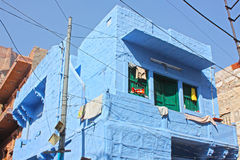 Blue Houses Of The Hindu Brahmin Caste Royalty Free Stock Photography
