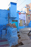 Blue Houses Of The Hindu Brahmin Caste Royalty Free Stock Photos
