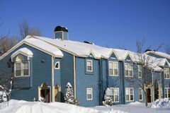Blue Houses, Snow, Winter Royalty Free Stock Images