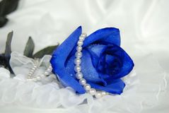 Blue rose on lace with pearls Royalty Free Stock Photography