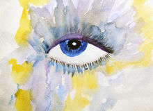 Blue human eye is painted in watercolor on a  background. Blue human eye is painted in watercolor on a colored background Royalty Free Stock Images