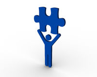 Blue human figure brandishing jigsaw piece. On white background Royalty Free Stock Photo
