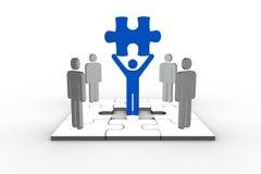 Blue human form brandishing jigsaw piece Royalty Free Stock Photo