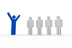 Blue human form raising arms in front of white other forms Royalty Free Stock Images