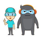 Blue human and gray monster Royalty Free Stock Image