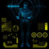 Humanoid Robot in a Questioning Pose with HUD elements. Blue humanoid robot android standing in a questioning pose with futuristic user interface elements Royalty Free Stock Images