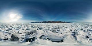 Blue hummocks of ice Baikal at sunset at Olkhon. Spherical vr 360 180 degrees panorama.  Royalty Free Stock Photography