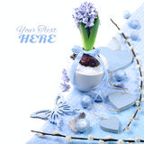 Blue hyacinth with Easter decorations on white, corner element Royalty Free Stock Photos