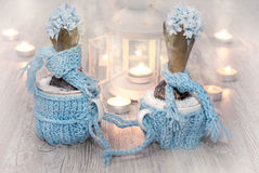 Blue hyacinths with matching decorations and candles Stock Images