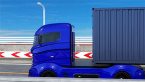 Blue hybrid truck driving on the highway. 3D rendering animation stock video footage