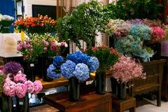 Blue hydrangea flower bouquet in the flower shop Royalty Free Stock Photo