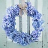 Blue hydrangea flower wreath Stock Photography