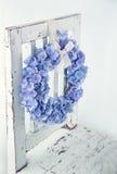 Blue hydrangea flower wreath Stock Images