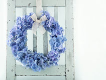 Blue hydrangea flower wreath Royalty Free Stock Photo