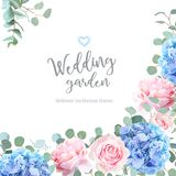 Blue hydrangea, pink rose, silver dollar eucalyptus. And greenery vector design invitation frame. Beautiful spring wedding flowers card.Floral angle summer vector illustration