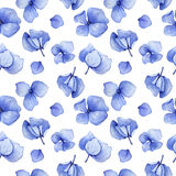 Blue hydrangea watercolor seamless pattern. Stock Photography