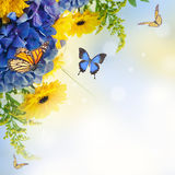 Blue hydrangeas and  butterfly Royalty Free Stock Photos
