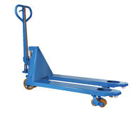 Blue hydraulic hand pallet truck isolated on white background Stock Photos