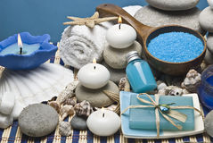 Blue hygiene items. Spa background with some hygiene items in blue Royalty Free Stock Image