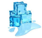 Blue ice. Thawing ice of a blue shade with water droplets stock photo