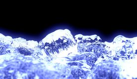 Blue Ice. A 3d render of ice cubes Royalty Free Stock Photography